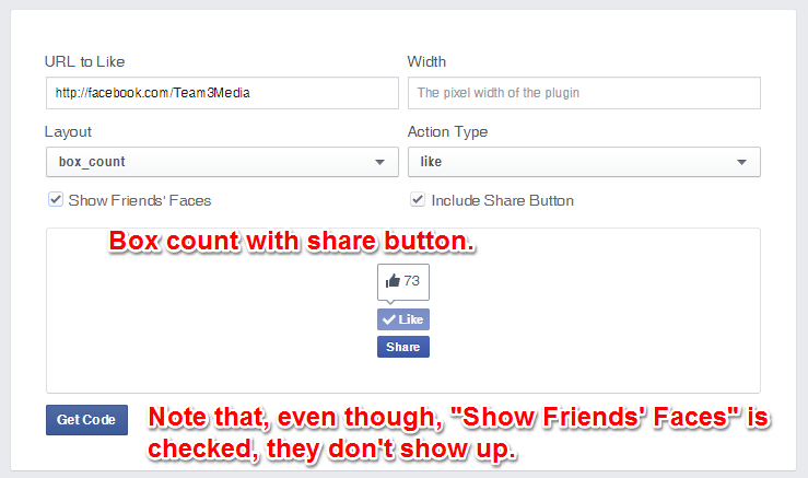 Facebook Like Button BoxCount Layout Share and Without Faces