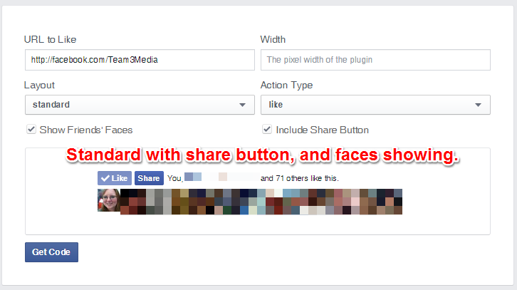 Facebok Like Button Standard Layout With Share Button and Faces