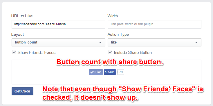 Facebook Like Button Button Count Layout With Share
