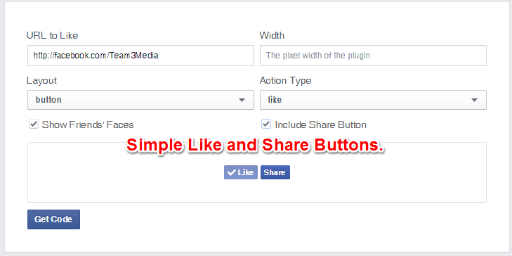 Facebook Like Button Simple Layout With Share