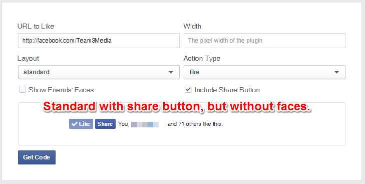 Facebook Like Button Standard Layout With Share And Without Faces
