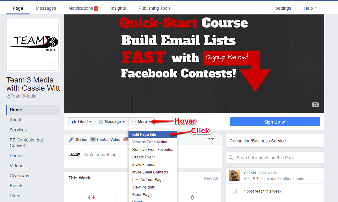 Claim Your Facebook Page Username - Edit Page Info